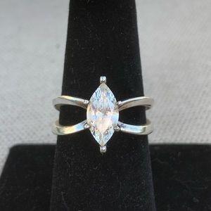 Vintage marquis solitaire Diamonique ring